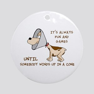 Dog Cone Larry Font 2 Ornament (Round)